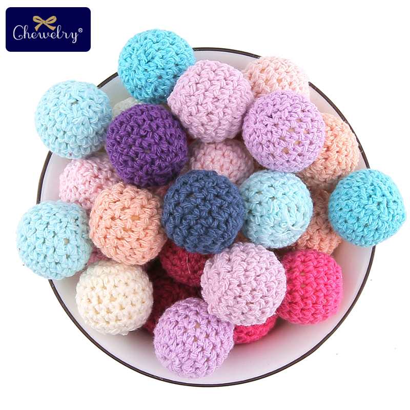 15pcs 20mm Wooden Crochet For Pacifier Chain Pendant Covered Beads Ball Wooden Teething Crochet Beads DIY Jewellery Kids Product