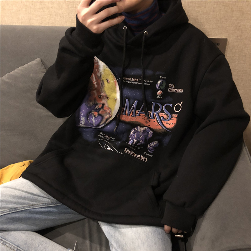 2019  Mars Cartoon Printed Loose Sweatshirt Men Hooded Cotton Pullover Couple Hoodies Lovers Harajuku Male Sweatshirts YT50169