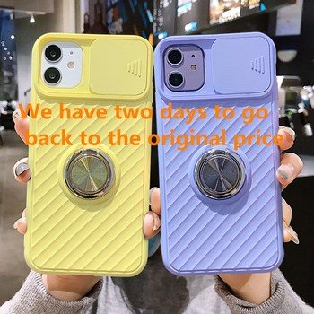 Slide Camera Protection Case For iPhone 12 SE 2020 11 11Pro Max XR XS X 8 7 6 6S Plus Shockproof Ring Holder Soft image