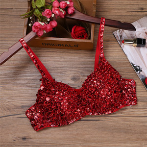Image 5 - ChicTry Women Sparkle Sequins Beading Padded Bra Festival Rave Club Party Sexy Dance Tops Stage Performance Belly Dance Costume