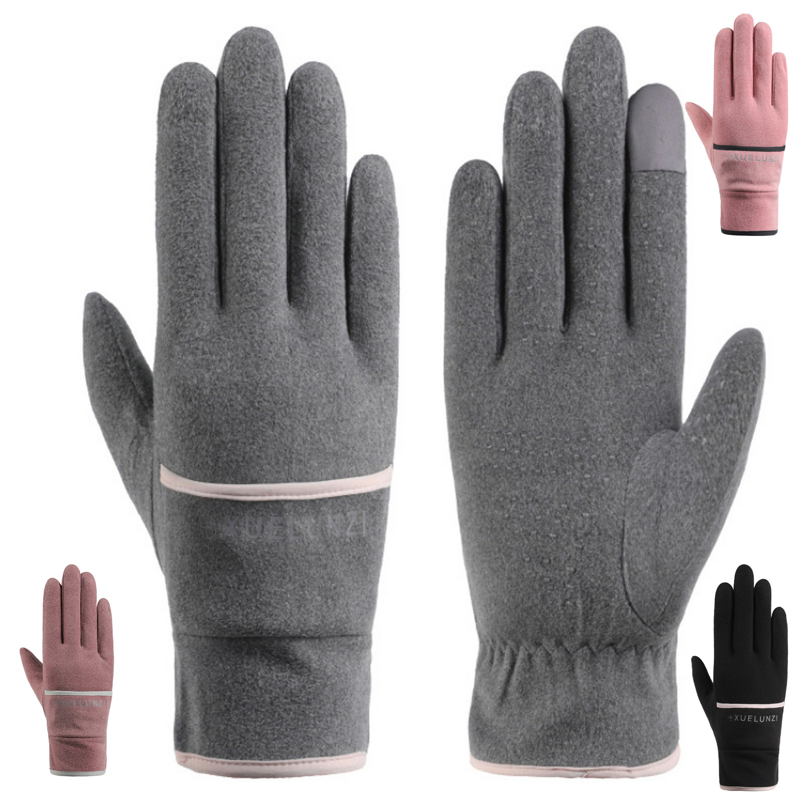 Winter women's warm gloves for fall and winter outdoor driving windproof riding non-slip waterproof skiing touch screen