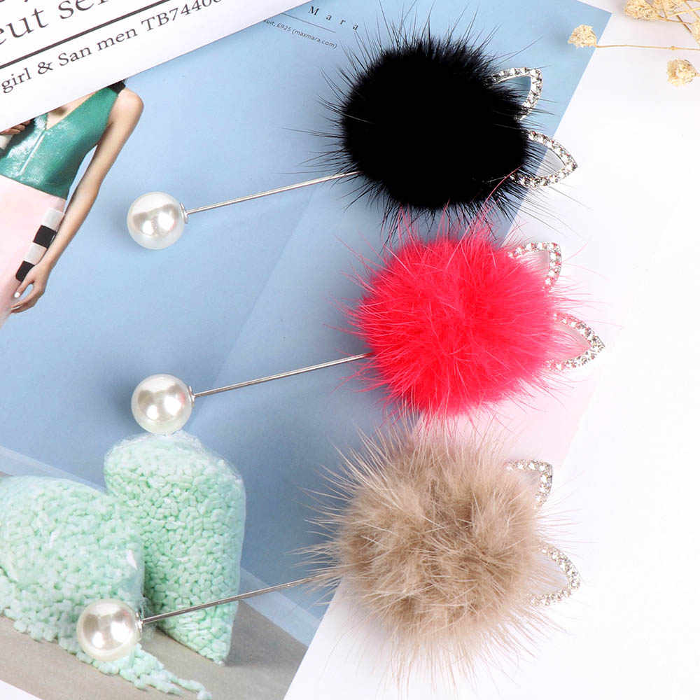 1PC Rabbit Ears Hair Fur Ball Brooch Pins For Women Korean Pompom Piercing Lapel Brooches Collar Fashion Jewelry Gift Decorative