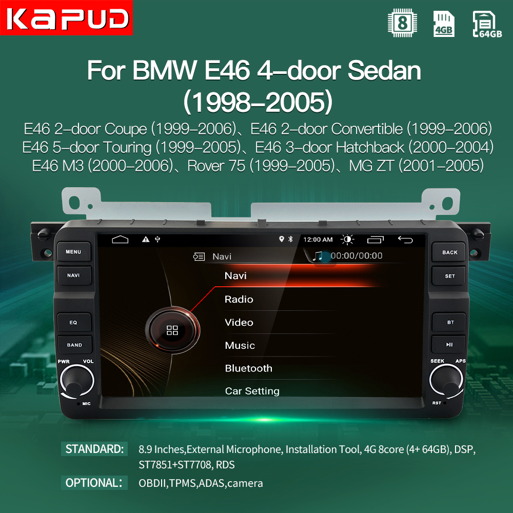 kapud android 10 For BMW 3 Series E46 Multimedia M3 8.9