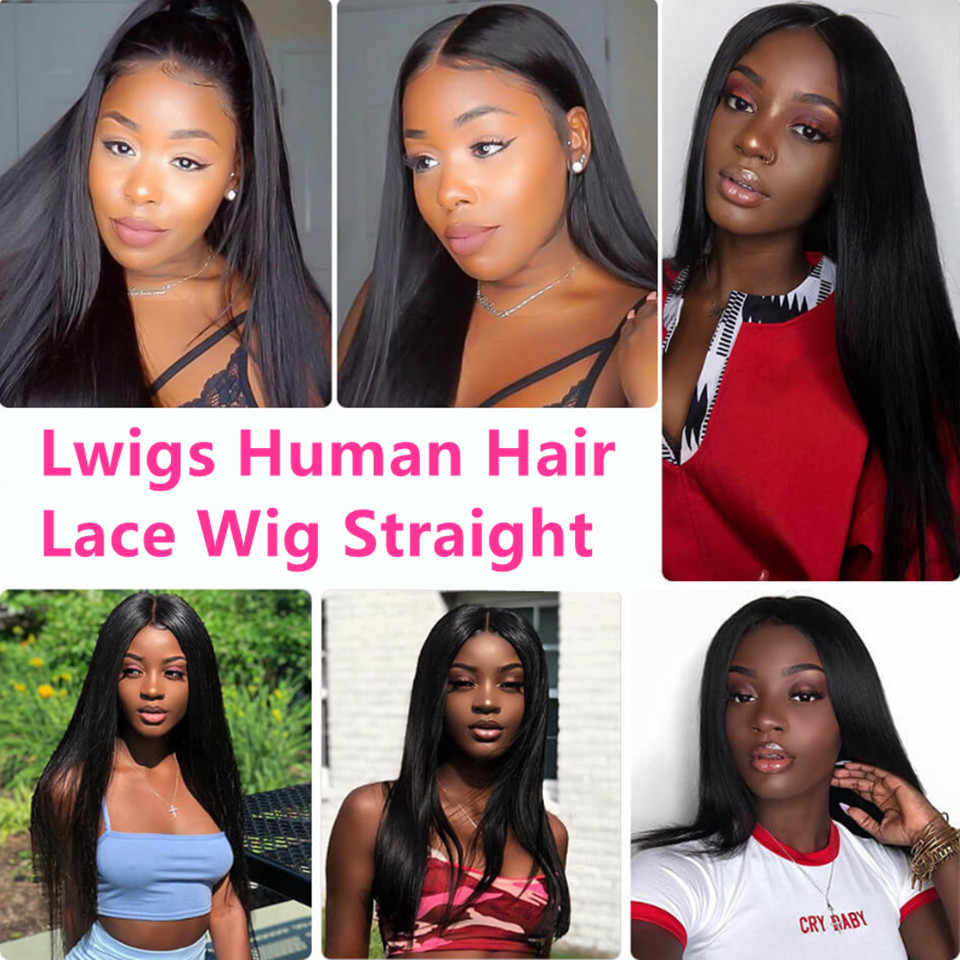 Прямой полный парик шнурка бразильский полный парик шнурка человеческих волос парики с детскими волосами HD передний парик шнурка отбеливатель узлы для черных женщин Lwigs