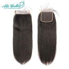 Ali Grace 4x4 zamknięcie koronki proste włosy ludzkie zamknięcie z dzieckiem włosy średni brązowy kolor brazylijski zamknięcie włosów 4x4 zamknięcie koronki