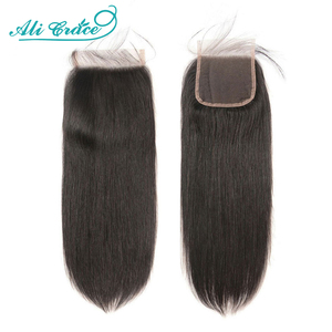 Ali Grace 4x4 Lace Closure Straight Human Hair Closure With Baby Hair Medium Brown Color Brazilian Hair Closure 4x4 Lace Closure(China)
