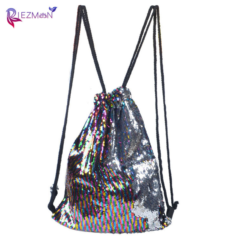 Riezman 2020 New Fashion Ladies Backpack Mermaid Two-color Sequin Backpack Ladies Colorful Outdoor Drawstring Backpack Girls Bag
