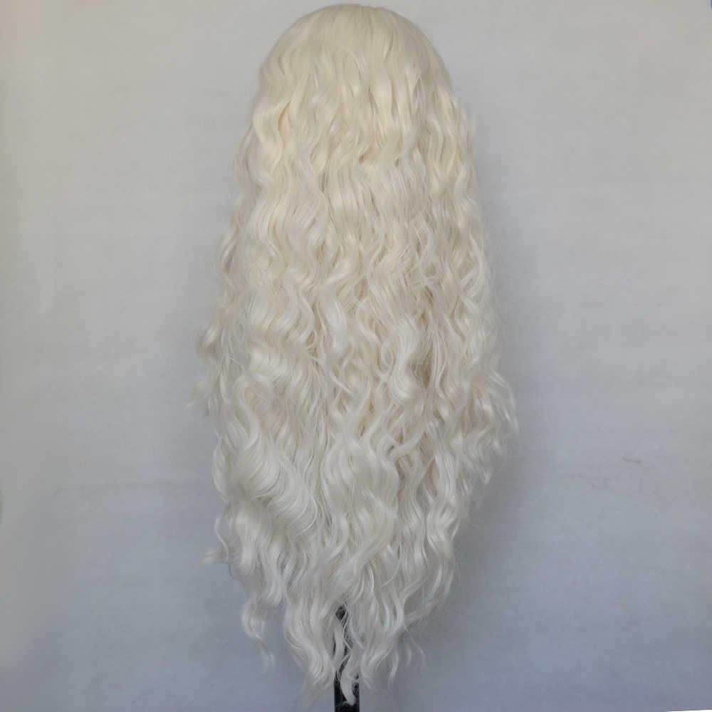 Vogue Koningin Platina Blonde Losse Krullend Synthetische Lace Front Pruik Dagelijkse Dragen Voor Vrouwen