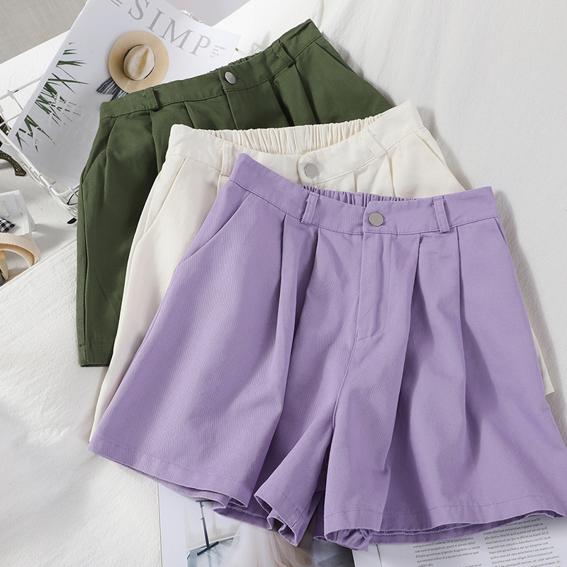Safari Style Summer Shorts Women Elastic High Wiat Wide Leg Fashion Trouser Female Purple Khaki Fashion Bottoms