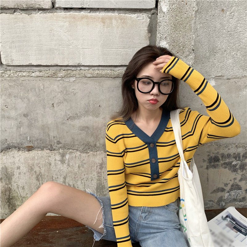 Women Casual Wild Sweater Lady Autumn V-neck Striped Knitted Clothes Long Sleeve Button Fashion Pullover Female Sweaters Tops