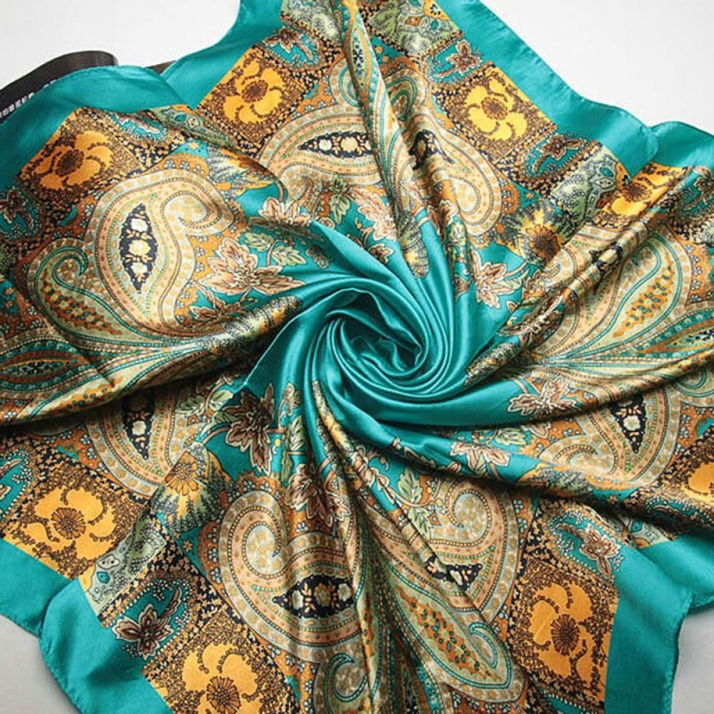 Elegant Spring Women Lady Big Square   Scarf   Imitated Silk Satin Kerchief Silk   Scarf   Headcloth Size 90x90cm