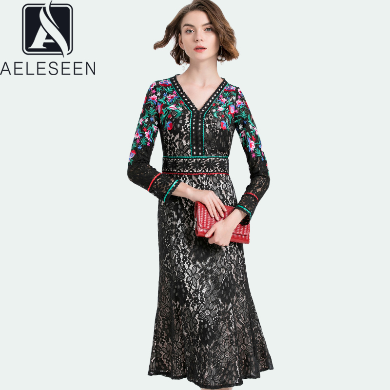 AELESEEN Plus Size Dress 2020 Black Long Sleeve V-Neck Sexy Women Flower Embroidery Trumpet Long Hallow Out Lace Dresses Fashion