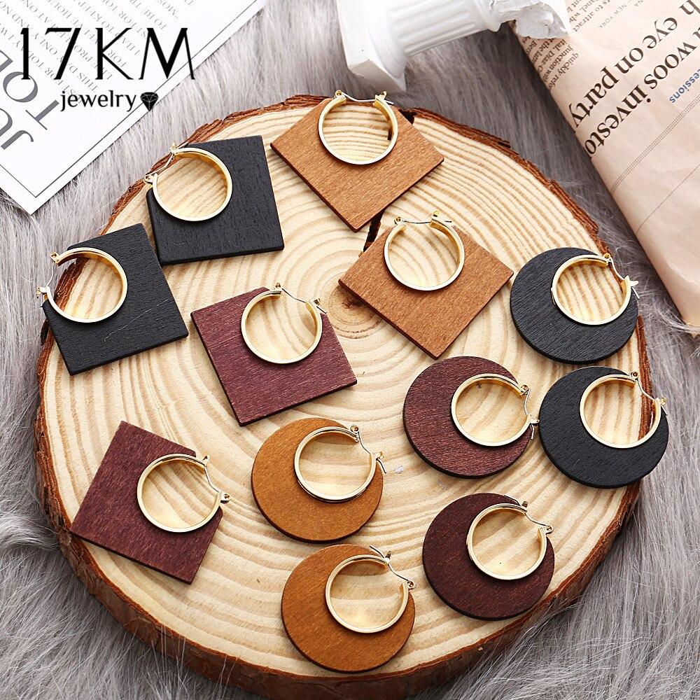 17KM Ethnic Geometric Big Wooden Earrings For Women Vintage Earrings Gold Dangle Drop Earring 2019 Female Fashion Boho Jewelry