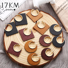 17KM Ethnic Geometric Big Wooden Earrings For Women Vintage Earrings Gold Dangle Drop Earring 2019 Female Fashion Boho Jewelry(China)