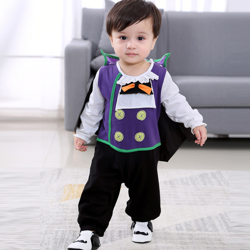 Halloween Baby Vampire Costume New Autumn Bebe Onesies Halloween Carnival Baby Romper 2pcs/Set Jumpsuit+Cloak For 0-24M Toddlers