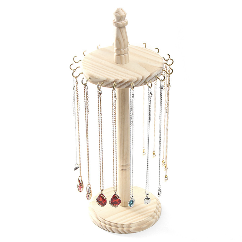 Wooden Pendant Jewelry Display Stand Earrings Ring Necklace Bracelets Display Rack Simple Jewelry Display Props Hanging Shelf