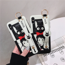 Cartoon Cute Girl Wristband Phone Case for iPhone 7 Cat X Drop XR Xs Max 8 6 6s