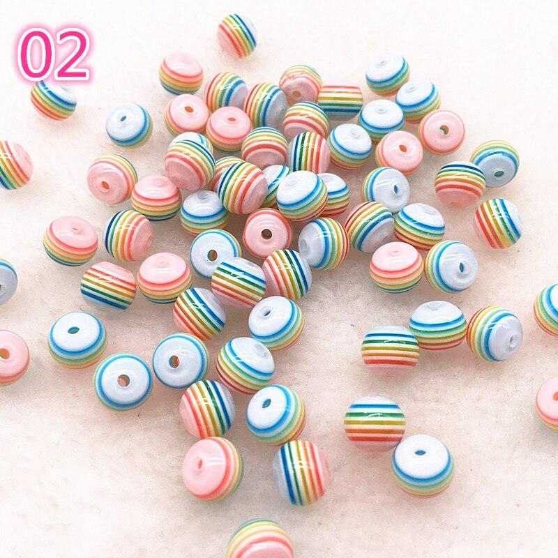6/8MM 50pcs Acessórios Pulseira DIY Crianças Artesanato Departamento Rodada Resina Listra Beads para Resultados Da jóia Transparente # B