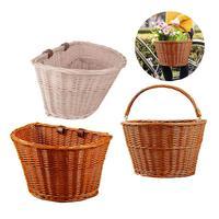 Vime frente guiador bicicleta cesta carga mão tecido belas linhas resistente e durável folk artesanato armazenamento de bicicleta Cestos e bolsas p/ bicicleta     -