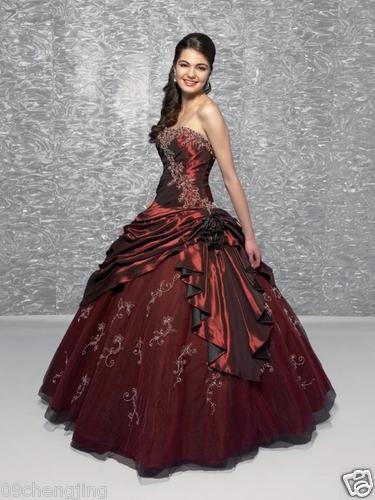 2018 New Design Bandage Top Strapless Embroidery Dress Taffeta Applique Red Quinceanera Prom Gown Mother Of The Bride Dresses