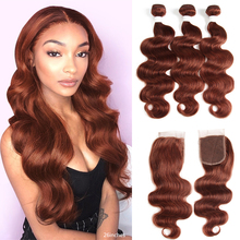 Hair Closure Body-Wave-Bundles Euphoria Burg Brazilian Brown with Remy Red-Color 4x4