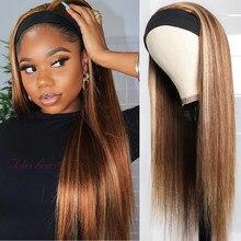 Perruque de cheveux naturels lisses, sans colle, avec bandeau ombré, pour femmes