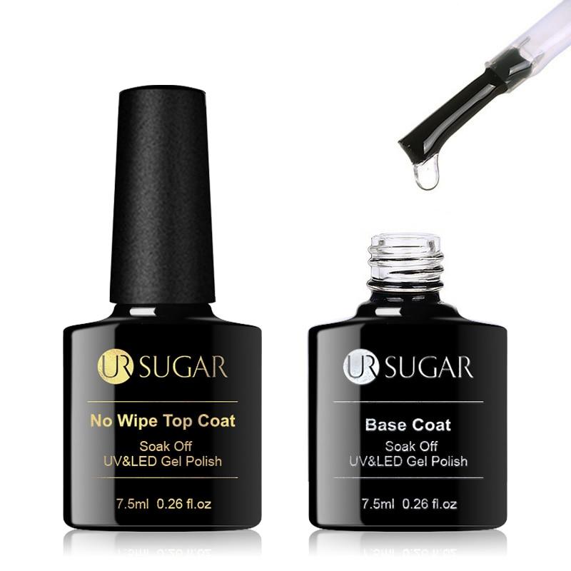 UR SUGAR 7.5ml No Wipe Base Top Coat Color Gel Nail Polish Matte UV Top Coat UV LED Soak Off Nail Art Gel Varnish Varnish