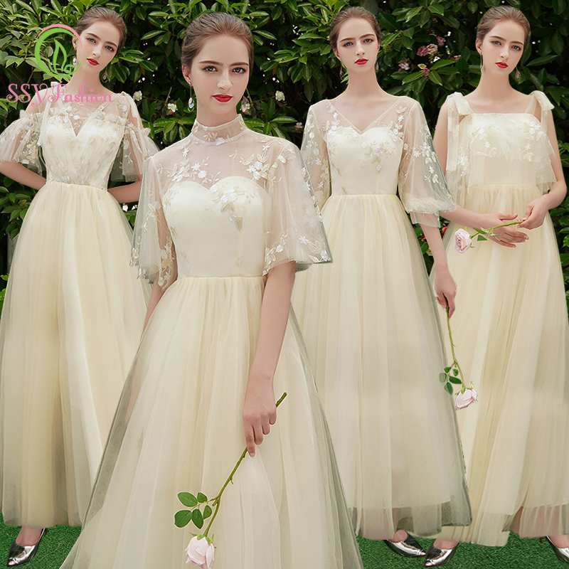 SSYfashion Champagne Long Bridesmaid Dresses Wedding Party Dress Banquet Formal Party Gowns Special Occasion Dress Custom