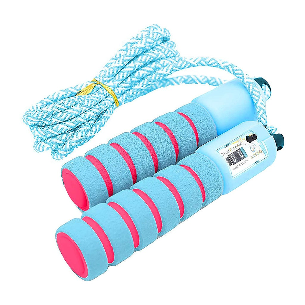 Children And Adults <font><b>Skipping</b></font> Wire Jump <font><b>Ropes</b></font> With Counter And Antiskid <font><b>Handle</b></font> Sports Fitness Adjustable Fast Speed Counting Jump image