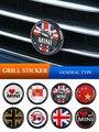Металлическая 3d-эмблема переднего гриля, значок решетки, наклейка из углеродного волокна с узором для BMW MINI Cooper One F54 F57 F56 F60 R55 R56 R60 R61