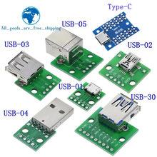 1 шт. USB разъем «папа»/мини микро USB адаптер DIP «Мама» разъем 2,54 Разъем B Type-C USB2.0 3,0 конвертер PCB «мама»