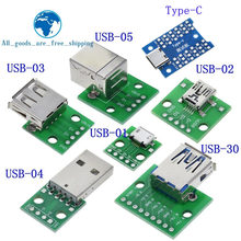 1 pces usb conector macho/mini micro usb para dip adaptador conector fêmea 2.54 conector b tipo-c usb2.0 3.0 fêmea pcb conversor