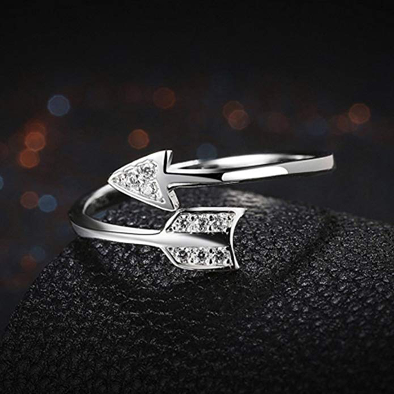 Qevila Fashion 925 Silver Rings Arrow Crystal 925 Sterling Silver Ring Adjustable Wedding Silver 925 Ring for Women Jewelry Gift (3)