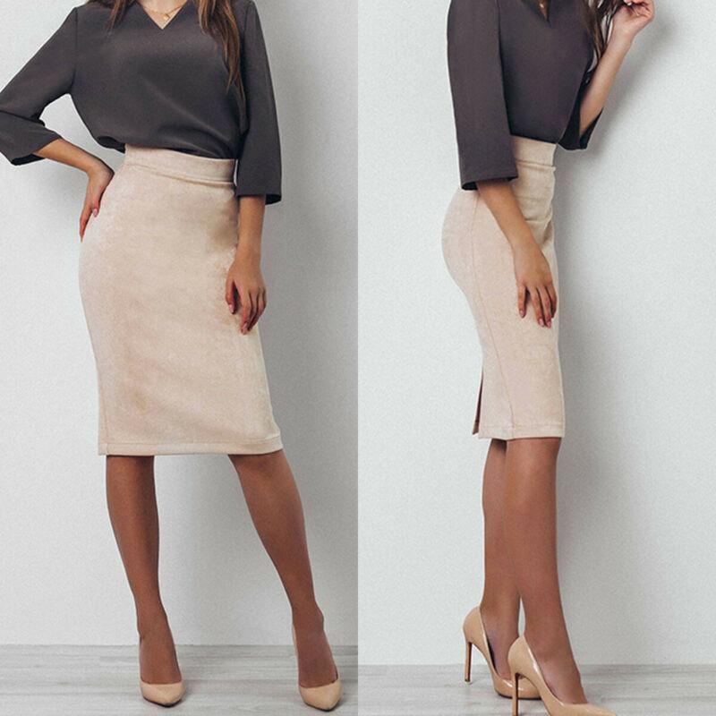 Women High Waist Suede Skinny Skirts Solid Bodycon Pencil Stretch Split  Midi Skirt Ladies Beige