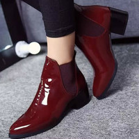 Fashion patent leather ankle boots for women sexy red boots med heels ladies shoes women boots autumn boots women shoes size 11