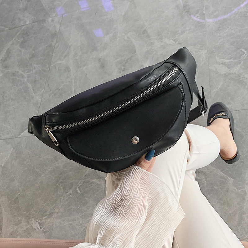 QIUYIN Travel Running Belt Bag Phone Pouch Casual Bum Bag Durable PU Leather Waist Bag Men Multi Zipper Pockets Fanny Pack