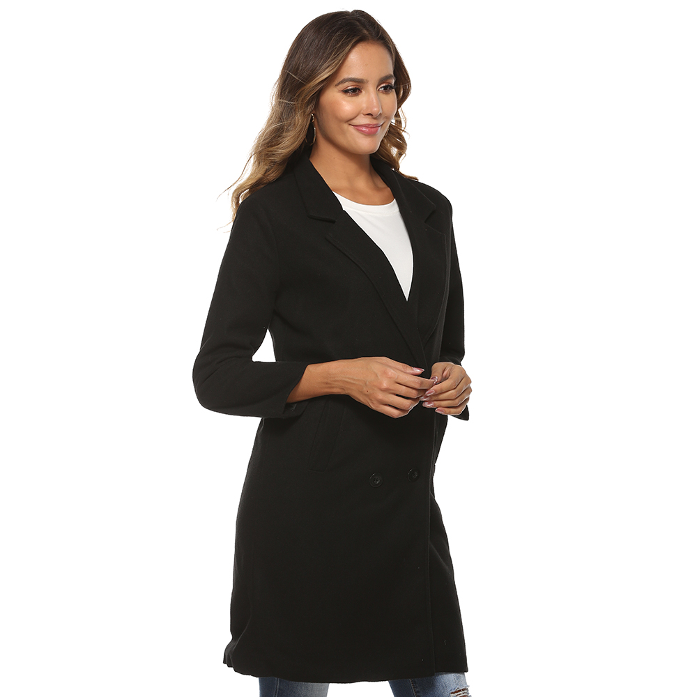 He571d771a0824fe8a55a34f259140935f 2018 New Women Long Sleeve Turn-Down Collar Outwear Jacket Wool Blend Coat Casual Autumn Winter Elegant Overcoat Loose Plus Size