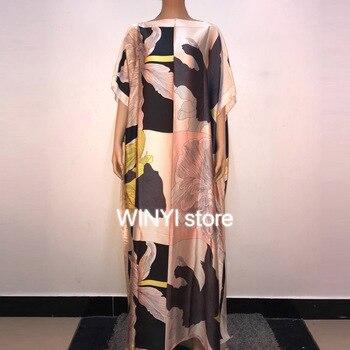 Koweït Dashiki Robe Imprimer Bohême Hijab En Vrac élégant Musulman Abaya Bazin Robe Robes Broder Riche Sexy Dame Fête Maxi Plage