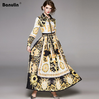 Banulin Runway Designer Women's Maxi Dress 2020 Spring Vintage Baroque Floral Print Puff Sleeve Sashes Pleated Shirt Dress banulin summer runway designer bow neck pleated dress women lace patchwork floral print elegant holiday midi dress vestidos