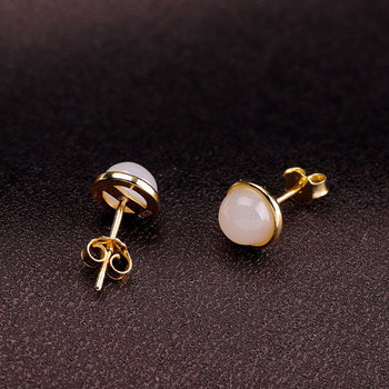 character gold-plated silver product S925 pure silver jewelry fashion simple natural hetian jade earrings a undertakes