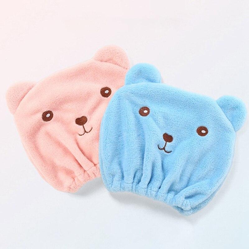 Cute Bear Kids Hair Turban Quickly Dry Hair Hat Head Wrap Cap Bathting Spa Towel