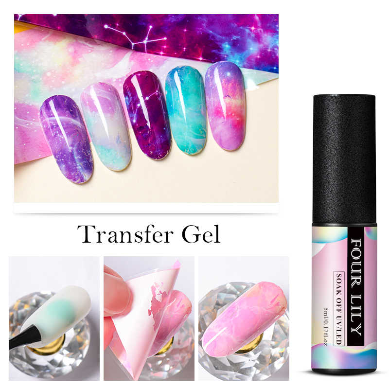 Vier Lelie Nail Lijm Voor Transfer Folie Sticker Nagel Folie Zelfklevend Polish Gel Sterrenhemel Papier Print Folies Wraps Manicure decal