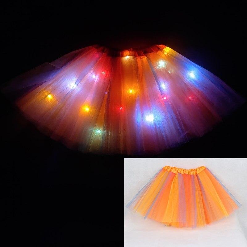 Light LED Girl Kids Clothes Star Tutu Skirt Princess Party Tutus Tulle Pettiskirt Child Ballet Dance Halloween Christmas navidad 5