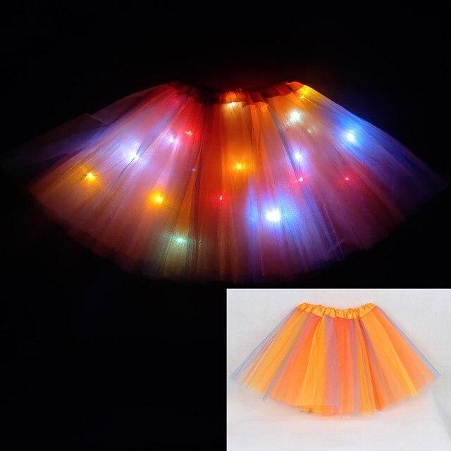 2020 new year Gradation Light LED Kids Coloured lights Tutu Skirt Princess Party Tutus Tulle  Child Ballet Dance skirt Rainbow 5