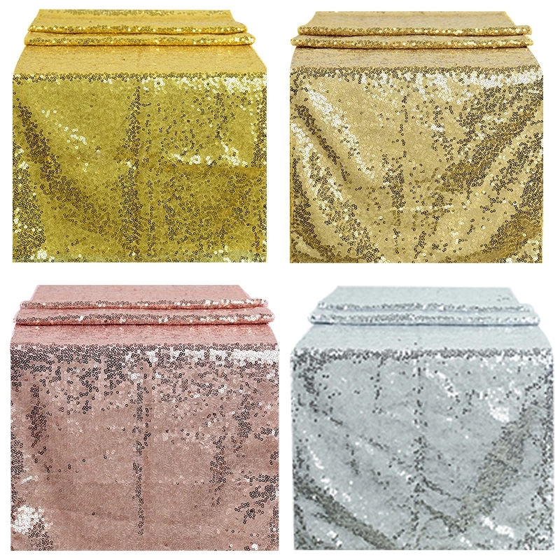 Sequin Table Runner Glitter Rose Table Runners Sparkly Gold Desk Cover Dustproof Heat Insulation Tablecloth Wedding Party Decor