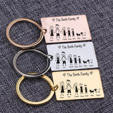 Custom Keychain Family Love Members Name Engraving Keepsake Keyrings Dad Mom Daughter Son Pets Together Keyrings Bag Charm(China)