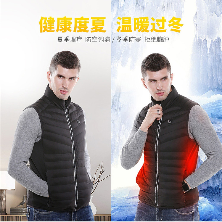 Warm Cycling Jacket Standing Collar Jacket Men USB Infrared Heating Jacket Riding Vest Autumn Winter Electric Thermal Clothing|Cycling Jackets| |  - title=