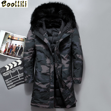 Boolili 2020 New camouflage men #8217 s winter jackets high quality fur collar long coat men Long white duck down jacket men 4XL cheap Wide-waisted 8909 Military zipper Full Flowers PATTERN Pockets Wave Cut Chains Thick (Winter) Broadcloth Acetate Polyester