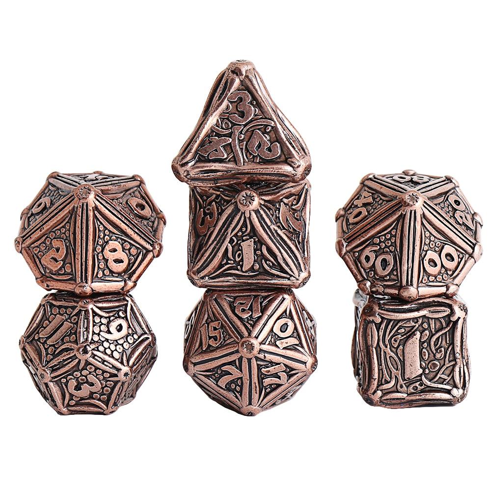 Conjunto de dados de metal d & d é jogo de dados de dnd de metal para dungeons jogo rpg e dragões com caixa de dados rpg incluindo um d4 d6 d8 d10 d12 d20