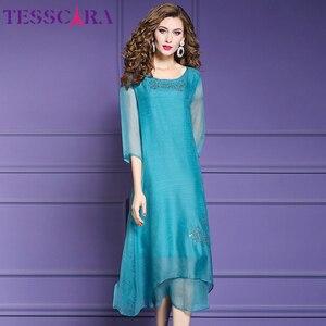 Image 2 - TESSCARA vestido de gasa suave para mujer, elegante vestido de fiesta de gasa suave para mujer, vestido de cóctel Vintage con lentejuelas